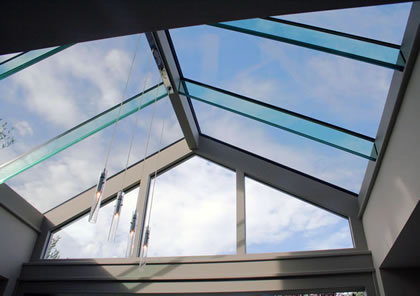 Conservatory roof with glass rafters in Putney, London