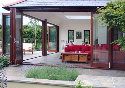 Folding Sliding Doors open onto terrace in Surrey