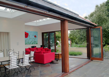 Folding Sliding Doors open on all sides in Orangery near Guildford, Surrey