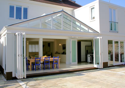 Folding sliding doors and conservatory in Barnes, S W London