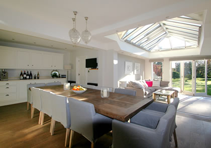 Kitchen Room adjoining Living Space in Orangery in Beaconsfield Bucks