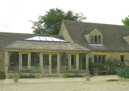 Green Oak Orangery on listed house in the Cotswolds